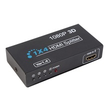 4-Port HDMI Splitter 4 Port HDMI Switch Selector Hub Splitter Full HD 3D 1080P Support  HDCP HDTV DVD with Power Adapter US Plug