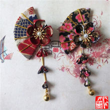 Japanese kimono Yukata Flower Fan Rattan Headwear Hair Clip Haripin Tassels Bell(China)