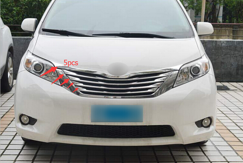 2011-2015 For Toyota Sienna Exterior Accessories Trim Front Centre Grill Grille Covers 5pcs<br><br>Aliexpress