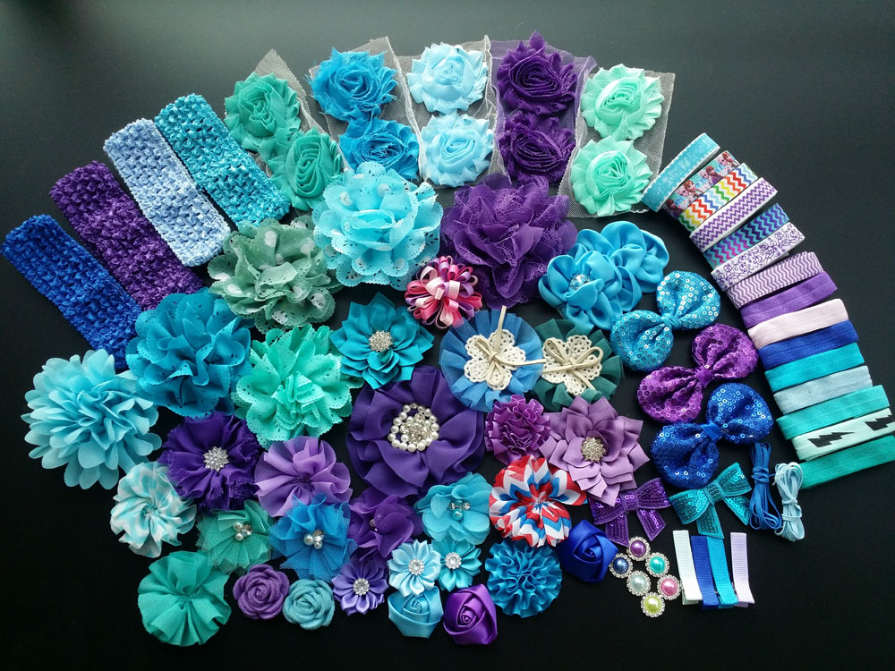 Deluxe DIY accessories kits set , Shower Headband, shabby flowers Rose hair bow Trim ,Birthday christmas day gift J<br>
