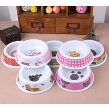 1pcs Pet Bowl Colorful Food Water Feeder Bowl cartoon print Cute Pet Products Supplies Feeding Dishes For Large Small Dogs Cats(China)