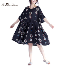 BelineRosa 2017 Casual Women Summer Dresses Women's Fashion Geometric Pattern Big Sizes Black Doll Dresses QY000010(China)