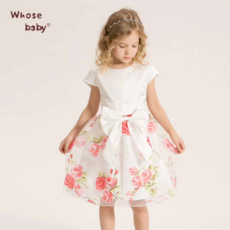 Girls Dress Infant Kids Chiffon Flower With Rose Bow Dress Sweet  Princess Party Costume Toddler Child Elegant DressWHOSEBABY<br><br>Aliexpress