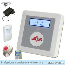 SOS Alarm GSM Elderly Care SMS Home House Temperature Monitoring Wireless Security System Panic Button Motion Detector K4C(China)