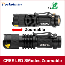 Mini LED Flashlight ZOOM 7W CREE 2000LM Waterproof Lanterna LED 3 Modes Zoomable Flashlight Linterna led Torch AA 14500 battery
