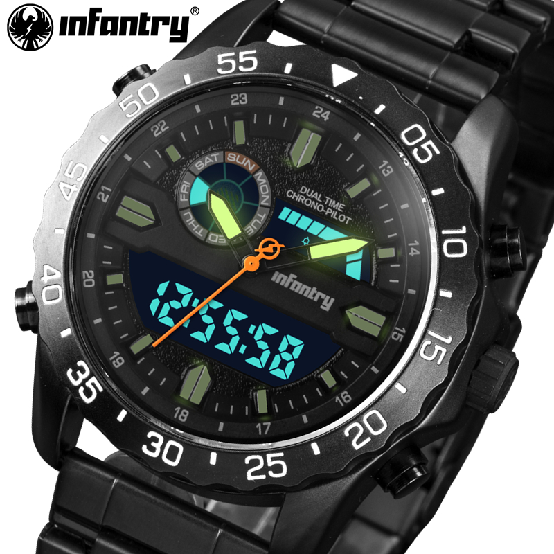 INFANTRY Mens Watches Full Steel Chronograph Military Quartz Watch Luminous LED Display Digital Watches Clocks Relogio Masculino<br>
