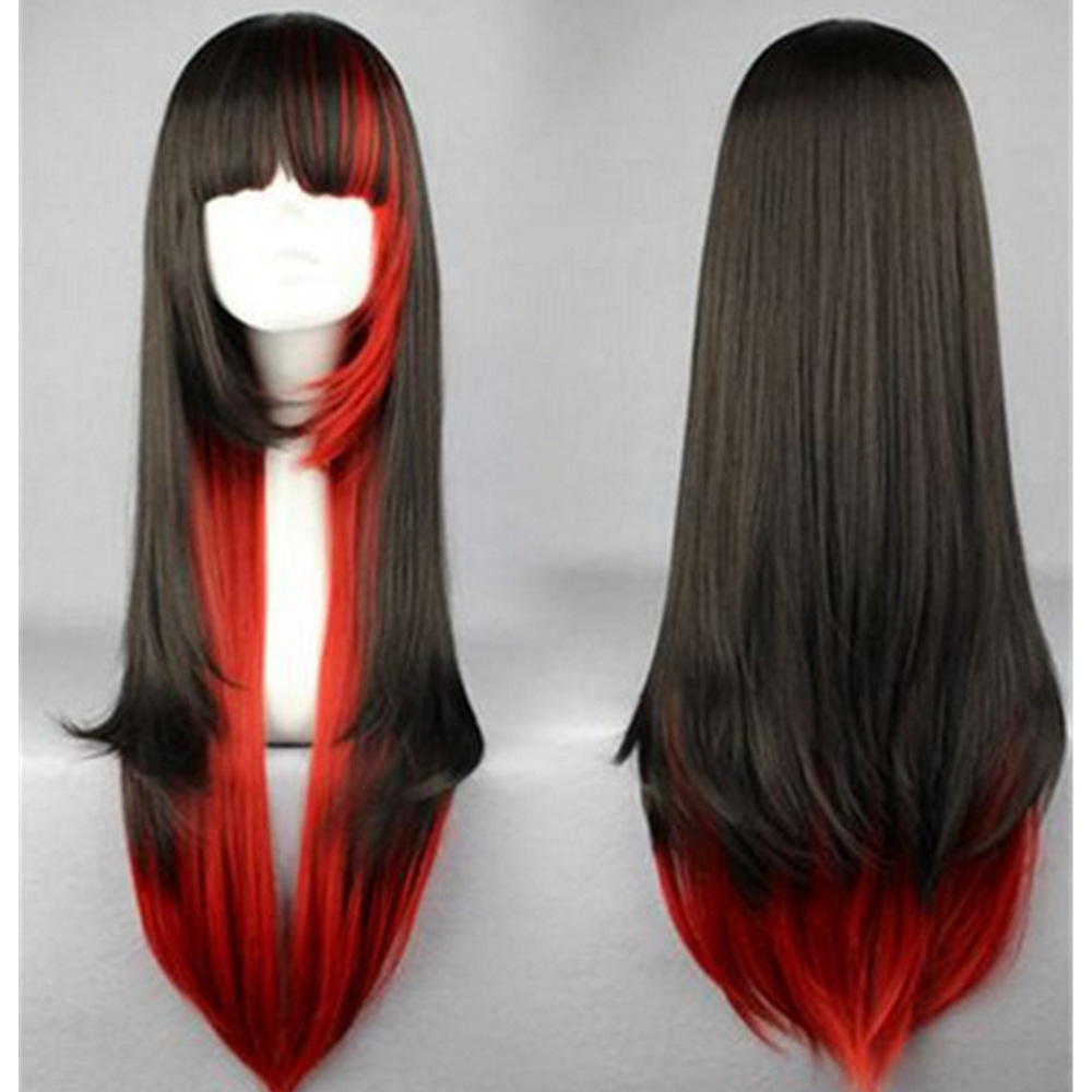 Animation Black Red Layered Wig Synthetic Hair Long Straight Women Wigs Cosplay Party 70cm<br><br>Aliexpress