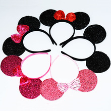 12pcs Girls Bow Minnie Mickey Mouse Ears Baby Hair Accessories Headbands Kids Children Birthday Party Rain Dot Ladies Hairbands