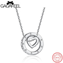 GAGAFEEL Cute 925 Sterling Silver Heart Pendant Necklace Silver/Rose Gold Color Jewelry For Women With Hollow Round Pendants