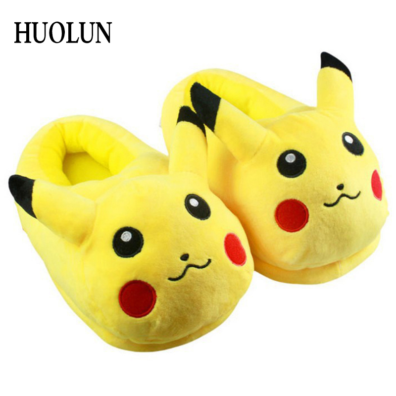 Novelty & Special Use Costume Props Huolun New Winter Home Cotton Warm Plush Slippers Cute Cartoon Pokemon Pocket Monster For Pikachu Lovers Shoes