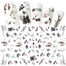1 Sheets Elegant Chinese Ink Painting Styles 3D Nail Art Sticker Mixed Plum Flower Bird Designs Adhesive Craft Nails D(China)
