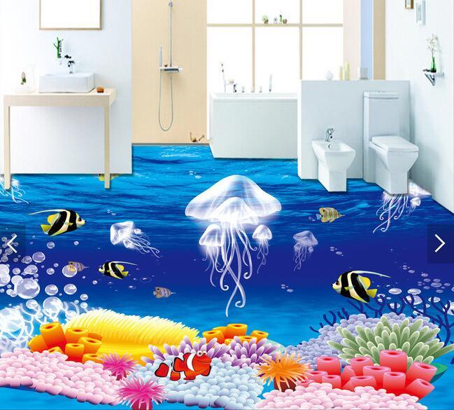 3 d pvc flooring custom waterproof picture 3 d fantasy jellyfish plants 3d bathroom flooring photo 3d wall murals wallpaper<br>