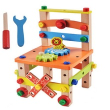 New Children Intelligence For Children Fashion Multifuncation Building Block Toys With Tool Chair DIY Toys Kid D109(China)