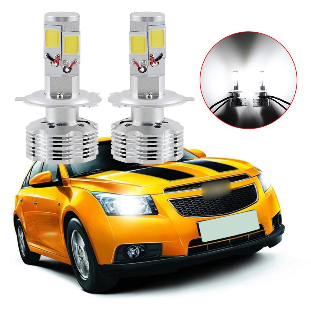 LED COB Kit Car Headlight Hi / Lo H4 HB2 9003120W 12000LM H4 HB2 9003 Hi/Lo Beam 4-Sides LED Headlight Kit 6000K Bulbs Pair<br>