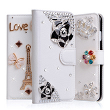 "For Homtom HT17 Case 5.5"" 3D Rhinestone Case Wallet PU Leather Cover Coque For Homtom HT17 Pro Floral Glitter Fundas Case(China)"