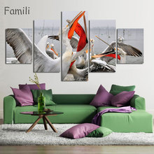 5 Piece Modern Still Life Wall Art Painting Group Of Goose Stand On Snow Print On Canvas The Picture Animal