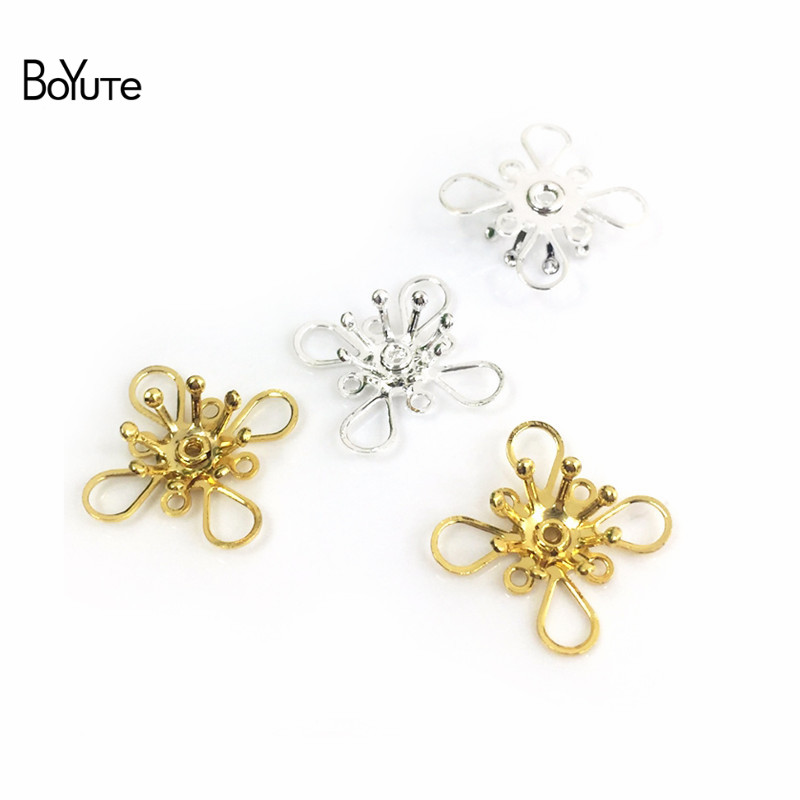 BoYuTe 50Pcs Metal Brass Stamping Filigree Flower Accessories Parts for Bridal Hair Jewelry Making (1)