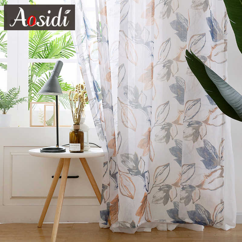AOSIDI Chinese Ink Style Leaves Print Tulle Curtains For Living Room Window Sheer Curtain For Bedroom Kitchen Ready Voile Drapes