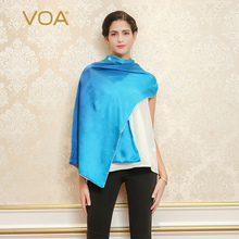 VOA 2017 Autumn Office Ladies Blue Silk Scarf Luxury Brand Fashion Women Hijab Shawl Girl Square Scarves Gift For Mother P931