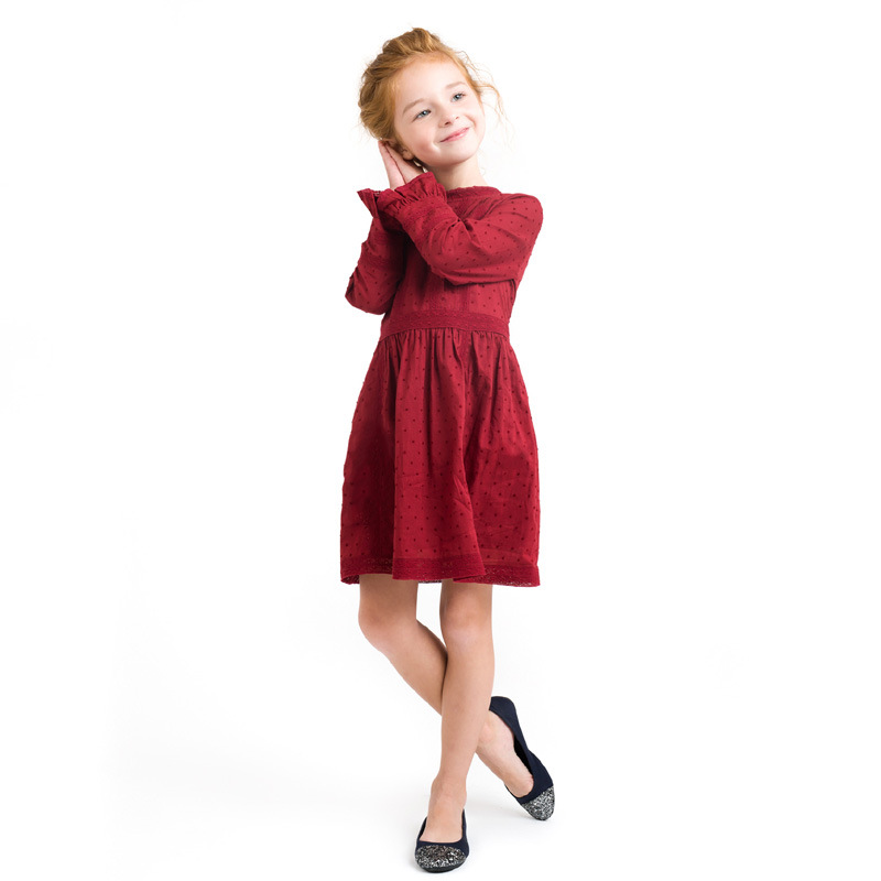 Girl Party Dress 2017 New European And American Style Solid Long Sleeve Girl Dress Elegant CasualGirls Dress Baby Dresses Girl<br>