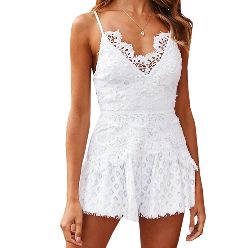 Deep V Neck Sexy Lace Splicing Bodycon Hollow out Jumpsuit Solid Color Rompers
