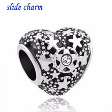 Free shipping Fit Pandora charm bracelets White Birthstone Christmas Snow Heart Love Bead Charms For Bracelets Beads for(China)