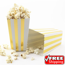 36pcs Metallic Gold Foil Striped Popcorn Boxes for Wedding Christmas Holiday Party-Paper Candy Favor Treat Snack Goodie Buckets