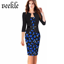 VEEKLE Elegant Floral Print Polka Dot Patchwork One Piece 3/4 Sleeve Women Work Office Dresses Ladies Large Plus Sizes 6XL 7XL