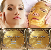 Gold Bio-Collagen Facial Mask Face Mask Crystal Gold Powder Collagen Facial Mask Moisturizing Anti-aging 5PCS 2017 New arrive