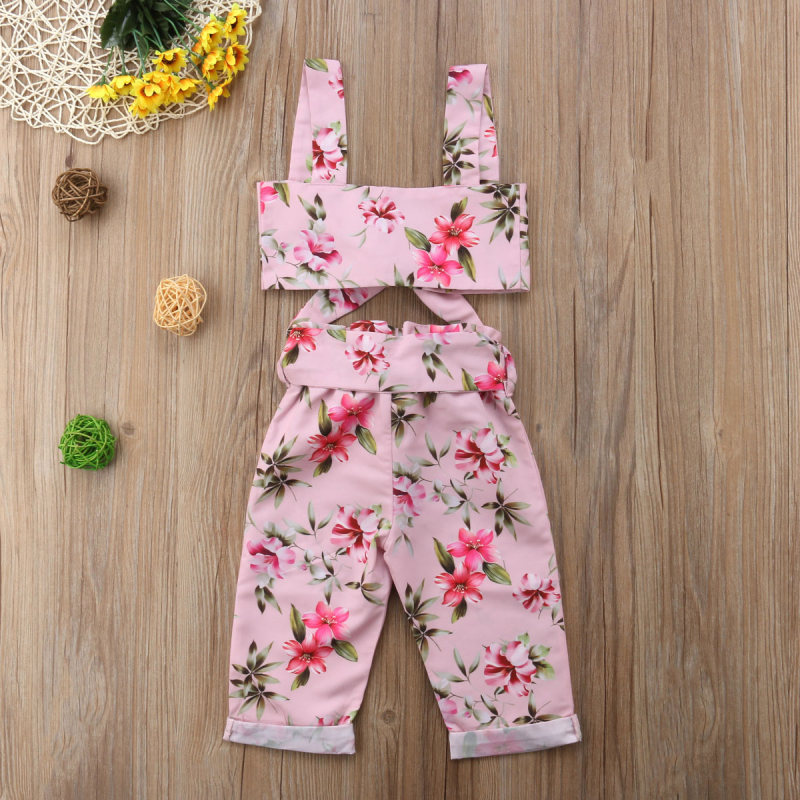 2pcs Summer Kids Baby Girls Bow Floral Crop Top Bare Midriff Vest Bowknot Pants Trouser 2Pcs Cotton Outfits Set Baby Girl 6M-5T