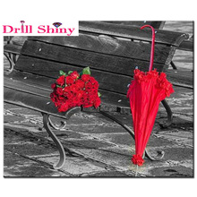 Full diamond embroidery Red umbrella and rose picture Needlework mosaic crystal Diy 5D diamond Painting Home Decoration