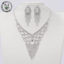Silver Tone Brass Rhinestone Cup Chain Wedding Jewelry Sets, Bib Necklace and Clip on Earring, with Glass Cabochons, Crystal,(China)