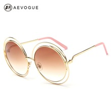 AEVOUGE Free Shipping Newest Fashion Brand Sunglasses Women Alloy Round Hollow Frame Good Quality Sun Glasses UV400 AE0175