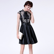 Black Luxury Dress 2017 New Summer Stand Collar Belt Pleat Gold Embroidery Short Sleeve Ladies Dress Women(China)