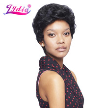 Lydia Synthetic Wigs For Black Women Pure Color 1B Short Curly Wig 100% Kanekalon Synthetic African American Wigs(China)