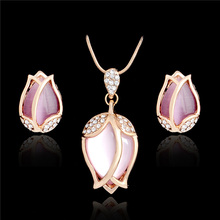 H:HYDE Unique Design Fashion Pink Opal Stone Pendant Necklace Necklace Earrings Jewelry Set For Women Wedding Set