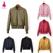 FIRSTTO Trendy Women Candy Colors V-Neck Quilting Quilted Jacket Short Padded Baseball Bomber Coat Pilots Outerwear Top 9 Color