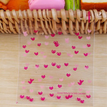 100pcs 10*13cm Rose Pink Heart Flower Resealable Gift Biscuits Candy Food Beans Cookie Handmade Self Adhesive Packing Bags