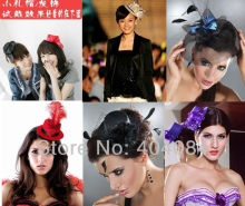 7colors 5inch lady Fascinator party cocktail dress up with hair clip mini top hat flower hair accessory 30pcs/lot