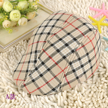 VORONCute KidsToddler Flax Cap Newsboy Ivy Hat Classic Plaid hat Check Beret Sun Flat Child caps For baby boy Girl Free shipping(China)