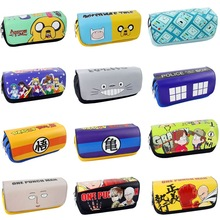 Cartoon toy One punch man /black butler/Totoro/Lufy/Naruto/Fairy tail/Deadpool Pencil Case PU Zipper Pencil Bag Anime gift