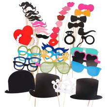 Brand 44PCS DIY Mask Photo Booth Props Set Funny Mustache Beards Red Lips Costume Fun Pictures Wedding Birthday Party Christmas(China)
