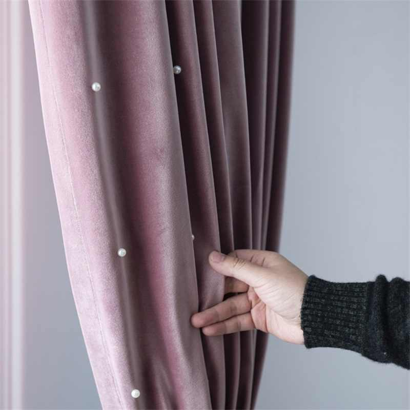 Solid Color Luxury Velvet Beading Blackout Windows Curtain For Living Room Bedroom Princess Style Wedding /Home Decoration T67#4