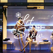 2 Pcs/Lot Christmas Decoration Store Showcase Glass Sticker Quotes Let it Snow Removable Carved Decals Window Wall Stickers(China)