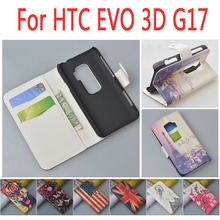 Luxury New design pattern flip Leather Case for HTC EVO 3D G17