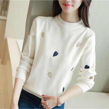 2017 New Sale Lycra Women Korean Autumn Couture Show Coat All-match Loose Fitting Sleeved Sweater Knit Love