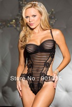 hh1091  free shipping Black Lady's Sexy Lingerie Backless Babydoll Mini Dress Underwear +G-string