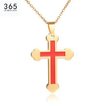 New Trendy Red Cross Stainless Steel Necklace For Women Classical Gold Color Chain Necklace Party Gifts