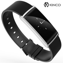 KINCO 0.96inch OLED Blood Oxygen Blood Pressure Silver Black Gold Heart Rate Sleep Monitor Smart Exercise Plan Wristband Watch(China)