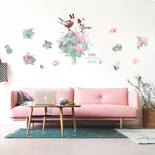 Summer flowers Wall Stickers For Living Rooms Home Decor DIY Wall Decal Corridor Coffee shop Decoration QTM376(China)